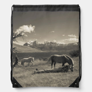 Landscape with horses drawstring bags