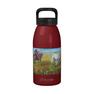 landscape with horses reusable water bottle