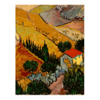 Landscape with House & Ploughman, Vincent Van Gogh Postcard