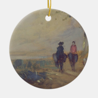 Landscape with Lake and two Figures Riding, previo Christmas Ornament