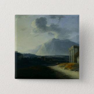 Landscape with Mount Stromboli 15 Cm Square Badge