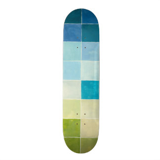 Landscape with Multicolored Pixilated Squares Custom Skateboard