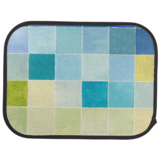 Landscape with Multicolored Pixilated Squares Floor Mat