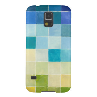 Landscape with Multicolored Pixilated Squares Galaxy S5 Case