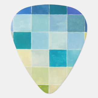 Landscape with Multicolored Pixilated Squares Guitar Pick