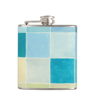 Landscape with Multicolored Pixilated Squares Hip Flask
