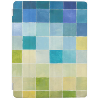 Landscape with Multicolored Pixilated Squares iPad Cover