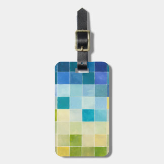 Landscape with Multicolored Pixilated Squares Luggage Tag