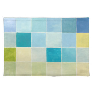 Landscape with Multicolored Pixilated Squares Placemat