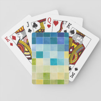 Landscape with Multicolored Pixilated Squares Playing Cards