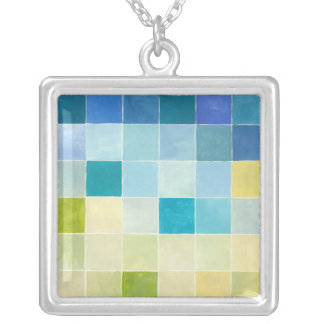 Landscape with Multicolored Pixilated Squares Silver Plated Necklace