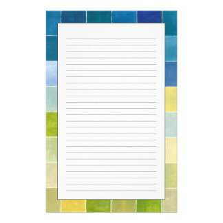 Landscape with Multicolored Pixilated Squares Stationery