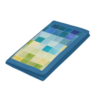 Landscape with Multicolored Pixilated Squares Tri-fold Wallet