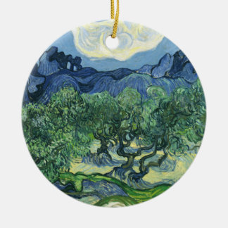 Landscape with Olive Trees, Vincent Van Gogh Round Ceramic Decoration
