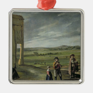 Landscape with Peasants, c.1640 Silver-Colored Square Decoration