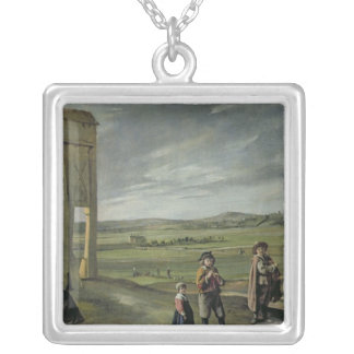 Landscape with Peasants, c.1640 Silver Plated Necklace