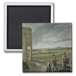 Landscape with Peasants, c.1640 Square Magnet