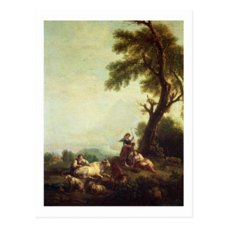 Landscape with Peasants Watching a Herd of Cattle Postcard