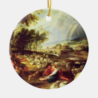 Landscape with Rainbow (oil on canvas) Christmas Ornament