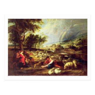 Landscape with Rainbow (oil on canvas) Postcard