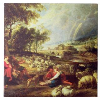Landscape with Rainbow (oil on canvas) Tile