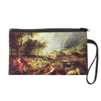 Landscape with Rainbow (oil on canvas) Wristlet Purses