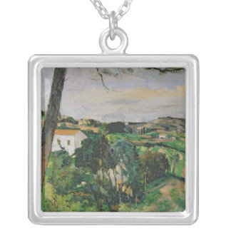 Landscape with red roof or The pine at the Silver Plated Necklace