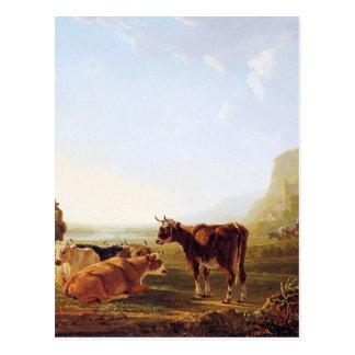 Landscape with resting cows by Jacob van Strij Postcard