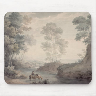 Landscape with River and Horses Watering Mouse Mat