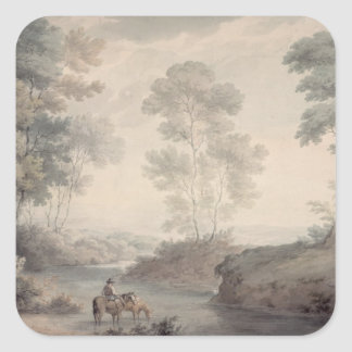 Landscape with River and Horses Watering Square Sticker
