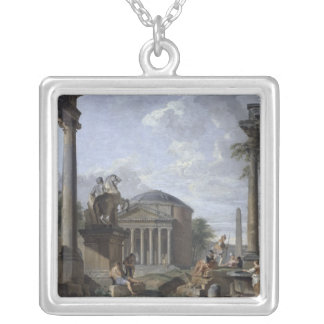 Landscape with Roman Ruins Silver Plated Necklace