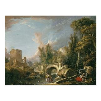 Landscape with Ruin & Bridge by Francois Boucher Postcard