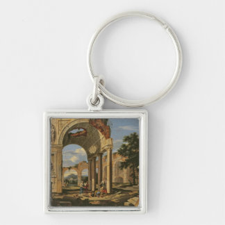 Landscape with Ruins, 1673 Silver-Colored Square Key Ring