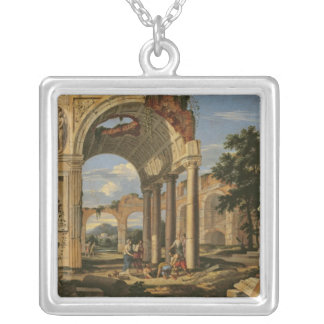 Landscape with Ruins, 1673 Silver Plated Necklace