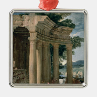 Landscape with ruins and a shepherd christmas ornament