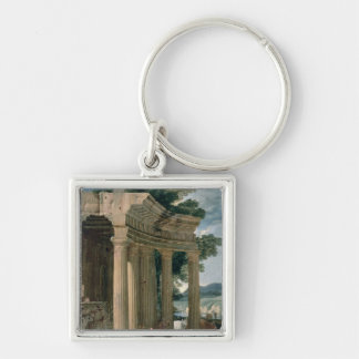 Landscape with ruins and a shepherd Silver-Colored square key ring
