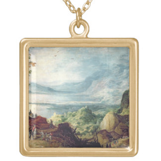 Landscape with Sea and Mountains (oil on canvas) Gold Plated Necklace