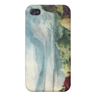 Landscape with Sea and Mountains (oil on canvas) iPhone 4 Cases