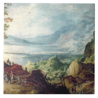 Landscape with Sea and Mountains (oil on canvas) Large Square Tile