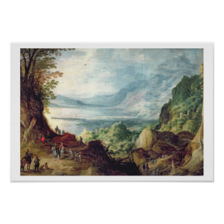 Landscape with Sea and Mountains (oil on canvas) Poster