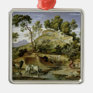 Landscape with Shepherds and Cows Silver-Colored Square Decoration
