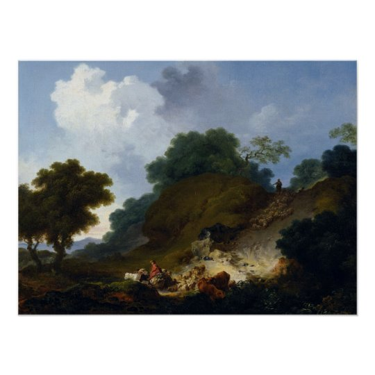 Landscape with Shepherds by Fragonard Poster