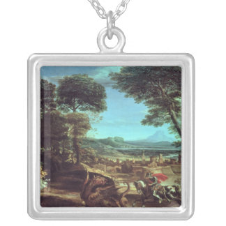 Landscape with St.George and the Dragon, c.1610 Silver Plated Necklace