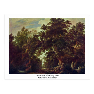 Landscape With Stag Hunt By Keirincx Alexander Post Cards