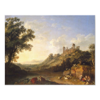 Landscape With Temple Ruins On Sicily (Valley Of T 11 Cm X 14 Cm Invitation Card