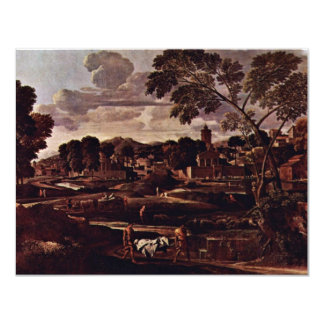 Landscape With The Burial Of The Phocus By Nicolas 11 Cm X 14 Cm Invitation Card