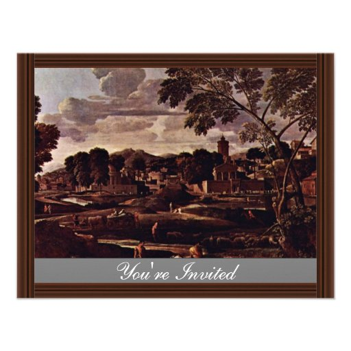 Landscape With The Burial Of The Phocus By Nicolas Custom Invites