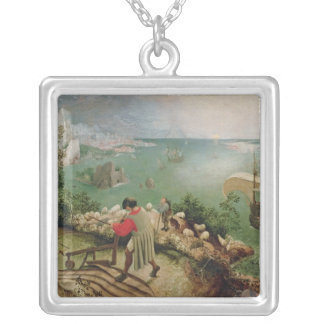 Landscape with the Fall of Icarus, c.1555 Silver Plated Necklace