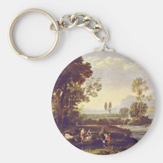 Landscape With The Flight To Egypt Basic Round Button Key Ring