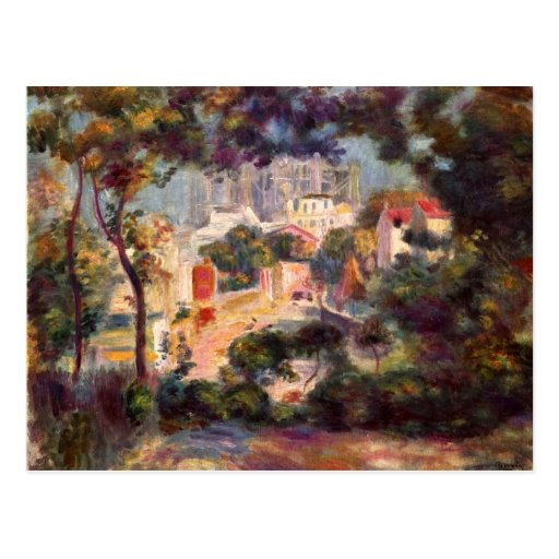 Landscape with the view of Sacre Coeur by Renoir Post Cards